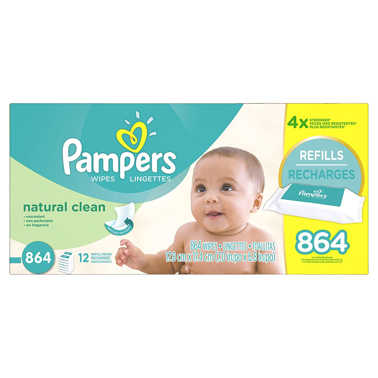 Pampers Baby Wipes 3X Refill Packs Natural Clean UNSCENTED 216 Count