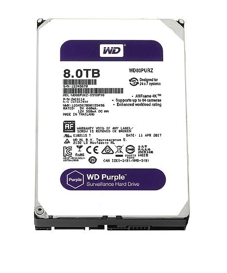 WD Purple 8TB Surveillance Hard Disk Drive - 5400 RPM Class SATA 6 Gb/s  128MB Cache 3 5 Inch - WD80PURZ
