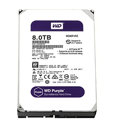 WD Purple 8TB Surveillance Hard Drive (WD80PURZ) SATA at amazon