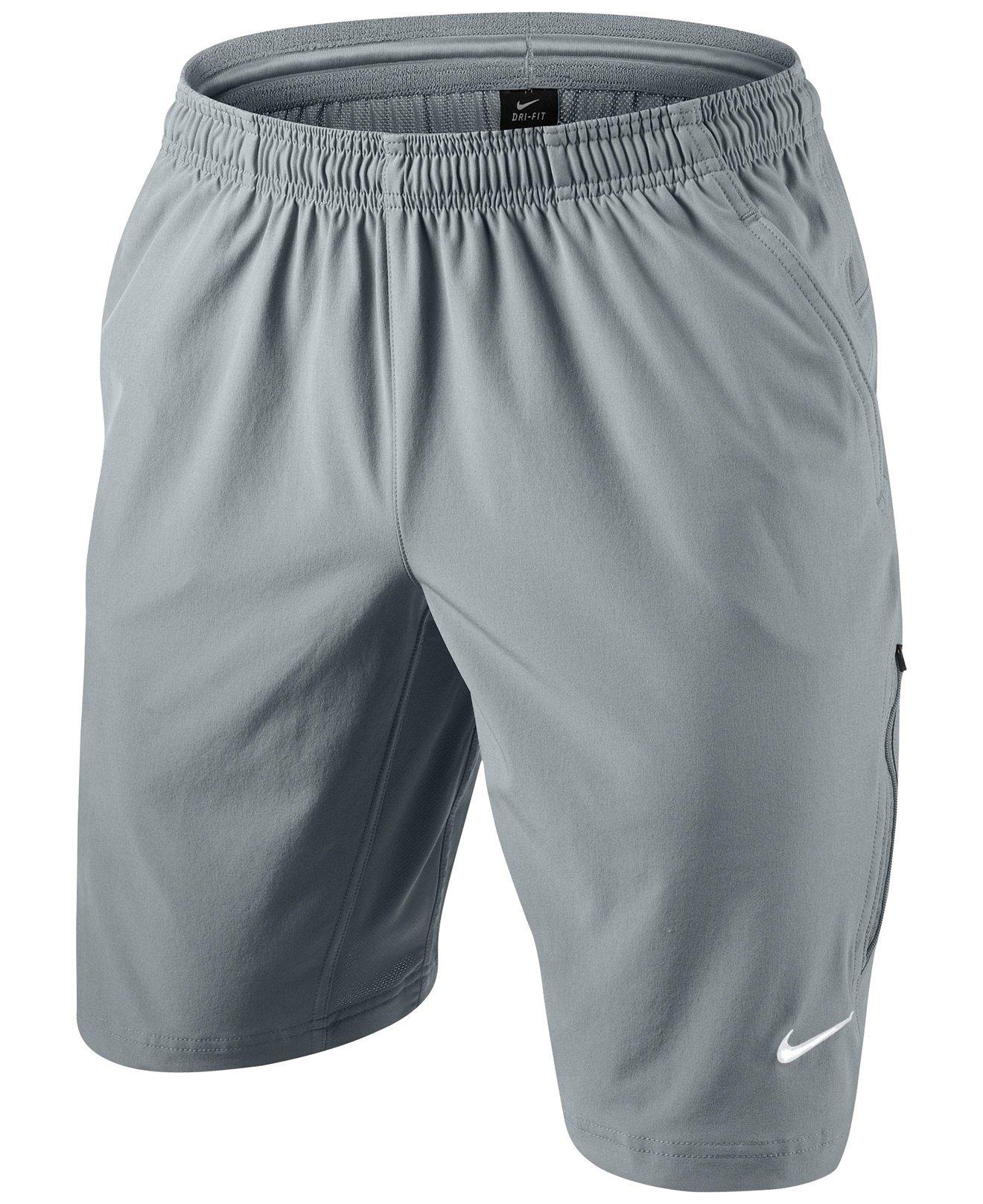 Nike Men's Dri-FIT Woven Tennis Short (Medium, Stadium Grey/White)