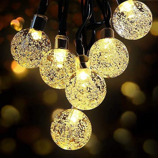 LED Lichterkette Außen Solar OMERIL Lichterkette mit 50er LED Kristallkugeln 8 Meter USB Lichterkette Innen für Garten, Bäume, Schlafzimmer,...