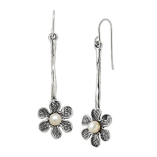 Silpada Lazy Daisy 4.5-5 mm Freshwater Cultured Pearl Flower Drop Earrings in Sterling Silver