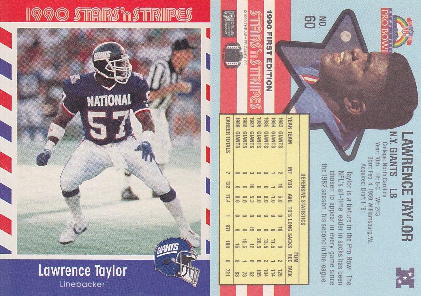 online store 7ffb9 0195d 1990 FLEER #60 LAWRENCE TAYLOR GIANTS STARS 'N STRIPES ...
