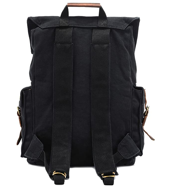f4a06c9ceab9 Amazon.com  Kattee Men s Leather Canvas Backpack Large School Bag Travel  Rucksack Black  Sports   Outdoors