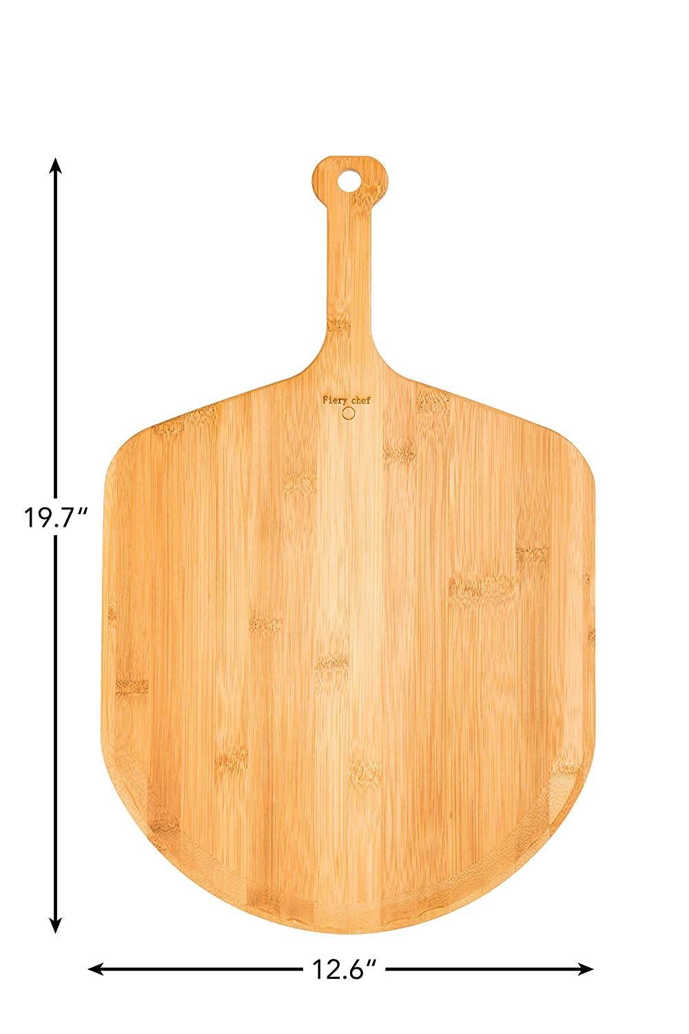 Fiery Chef Eco-friendly Multi-purpose Premium Natural Bamboo Pizza Peel - Paddle for Homemade Pizza and Bread Baking 12.6 x 13.8 inch Blade, 19.7 inch overall
