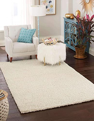 Unique Loom Solo Solid Shag Collection Modern Plush Pure Ivory Area Rug 5' 0 x 8' 0