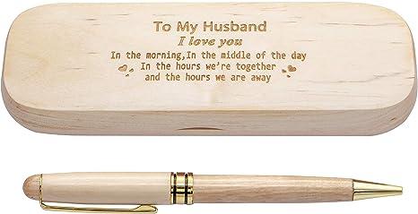 Estuche de madera con grabado personalizado, elegante bolígrafo ...