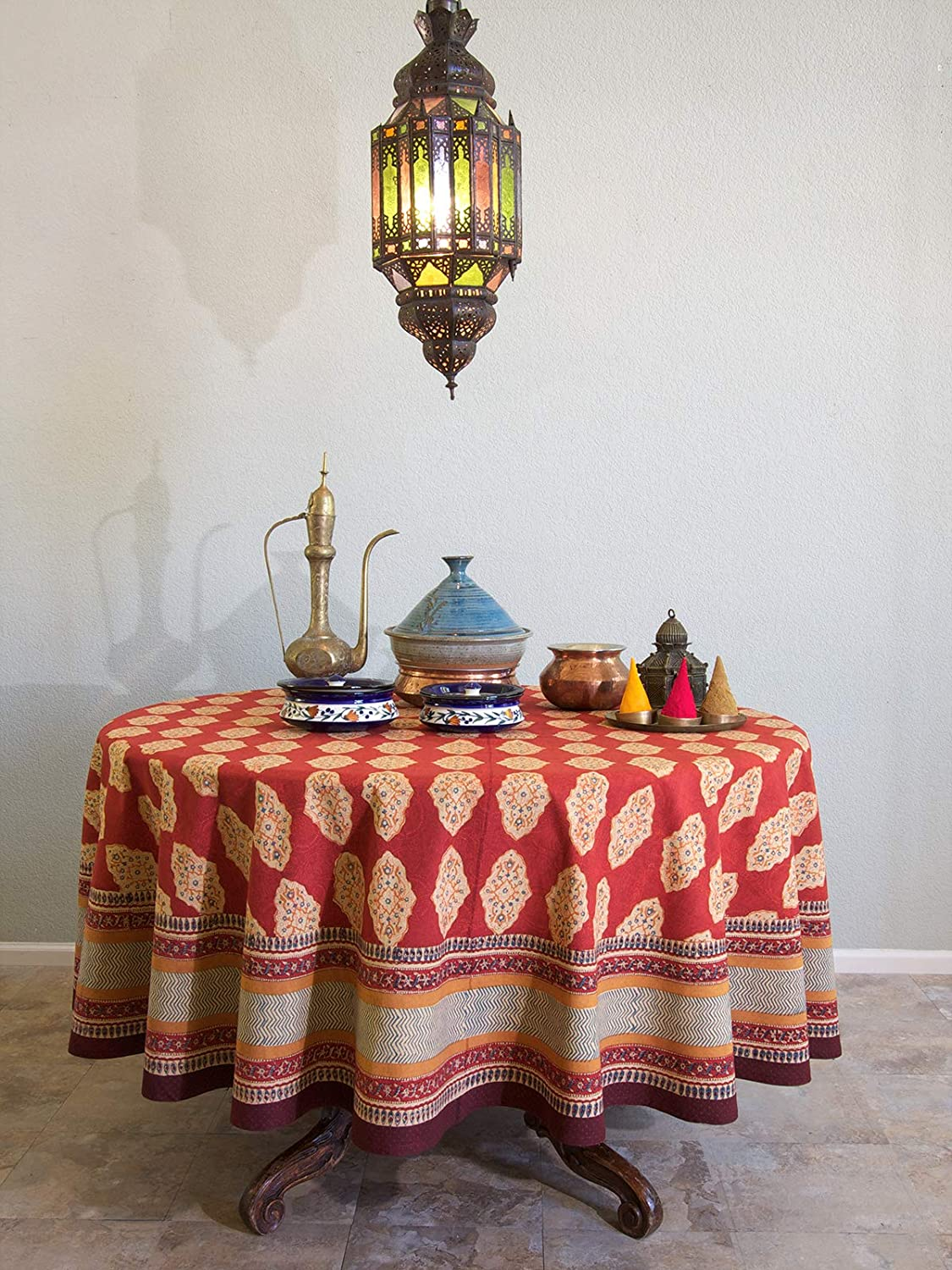 Saffron Marigold 90 Round Spice Route Cotton Tablecloth | Red Orange Moroccan Indian Print Bohemian Table Cover