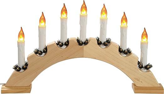 7 LED Natale Candle Bridge Light legno decorazione finestra Batteria