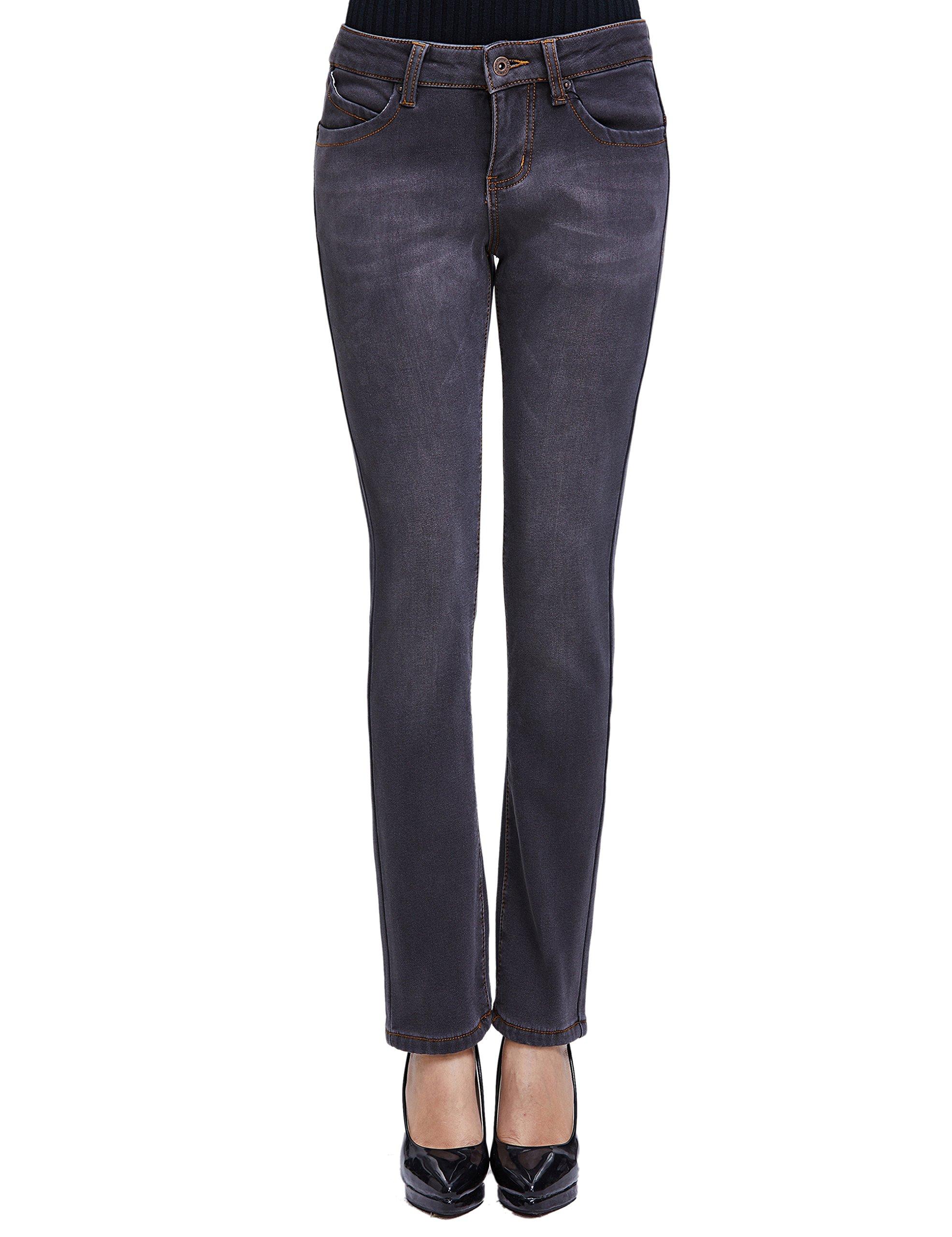 Camii Mia Women's Winter Slim Fit Fleece Jeans (W28 × L32, Grey (New Size))