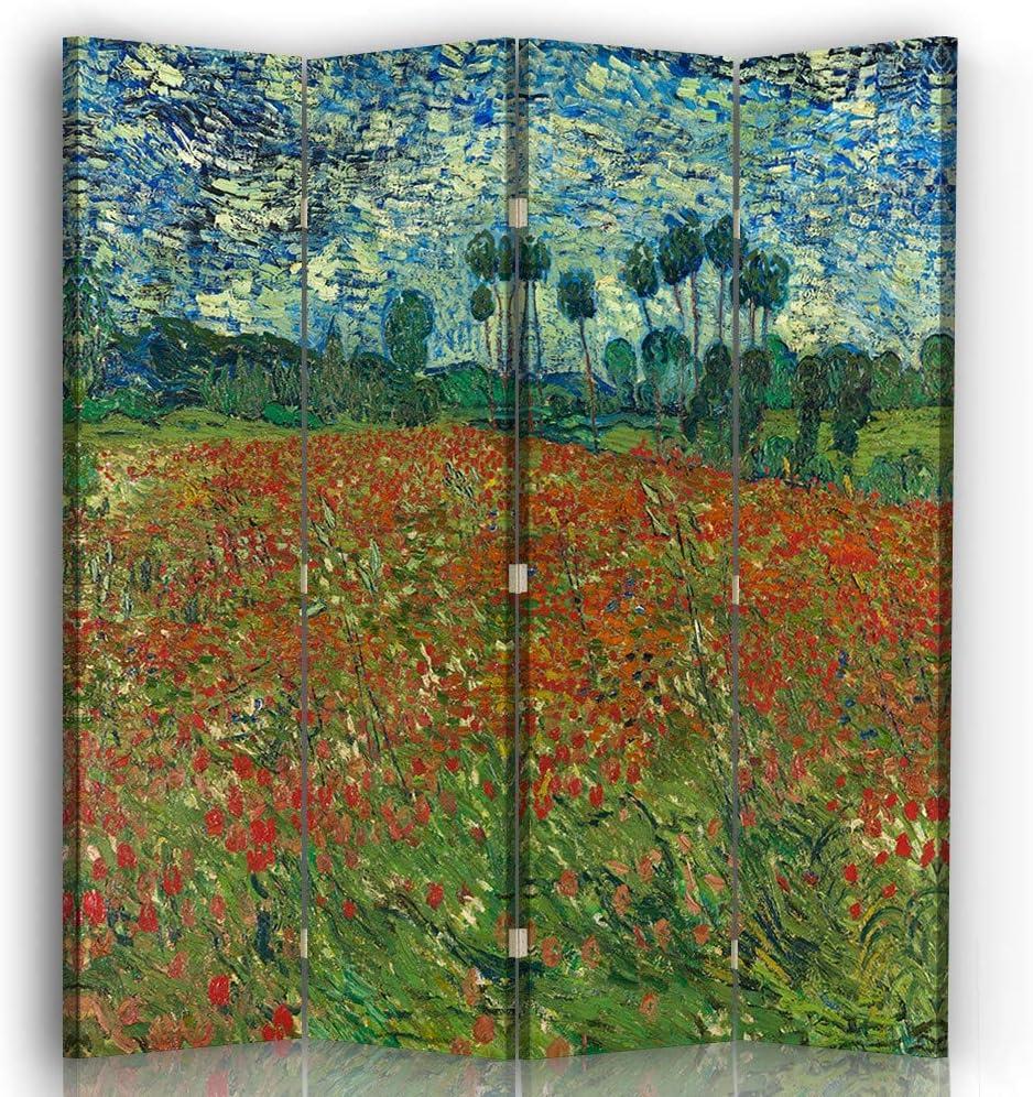 110x150 Paravent Vincent Van Gogh cm Cloison avec Impression Recto//Verso Le Champ des Coquelicots Legendarte 3 Volets