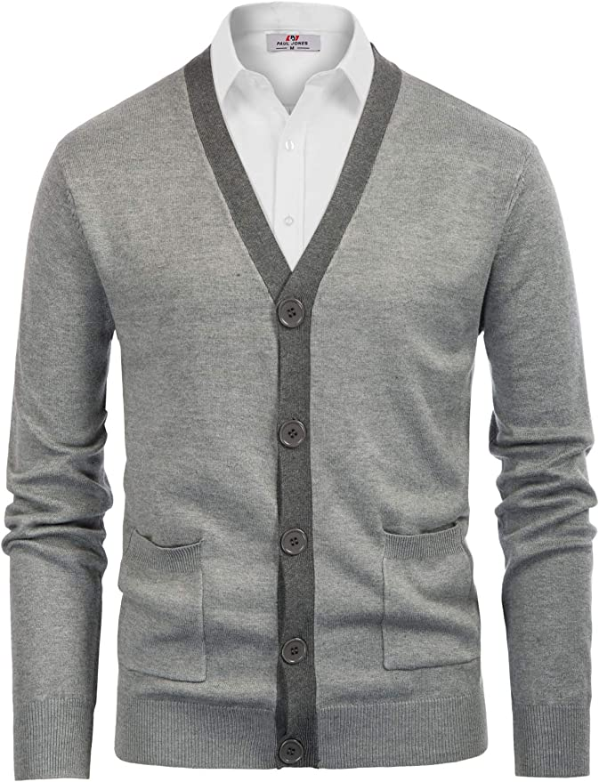 Men's Vintage Sweaters, Retro Jumpers 1920s to 1980s PJ PAUL JONES Mens Sweater Cardigan Stylish Contrast Color V-Neck Button Knitwear $25.89 AT vintagedancer.com