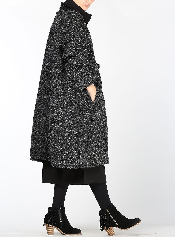 Vogstyle Donna Nuovo Cappotto Maniche Lunghe Elegante Trench Cardigan Cappotti Stile 1-Nero XL