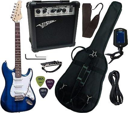 Pack de guitarra eléctrica: amplificador de 15 W, afinador electrónico, 7 accesorios, azul: Amazon.es: Instrumentos musicales
