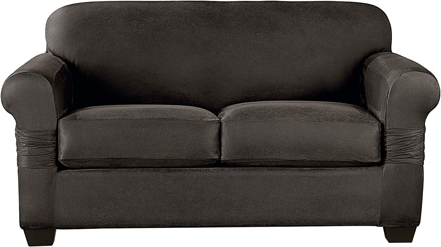 Surefit Home Décor Vintage Leather Universal Cushion Loveseat Three Piece Slipcover, Form Fit, Polyester/Spandex, Machine Washable, Gray Color