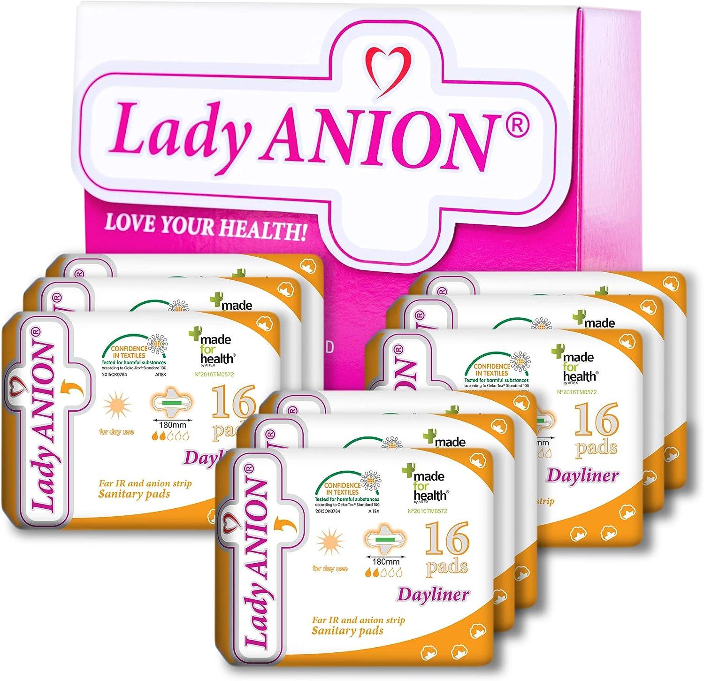 Lady Anion Salvaslips con alas, Algodón organico certificado – Paquete Super Valioso (9 x 16) I Compresas algodon: Amazon.es: Salud y cuidado personal