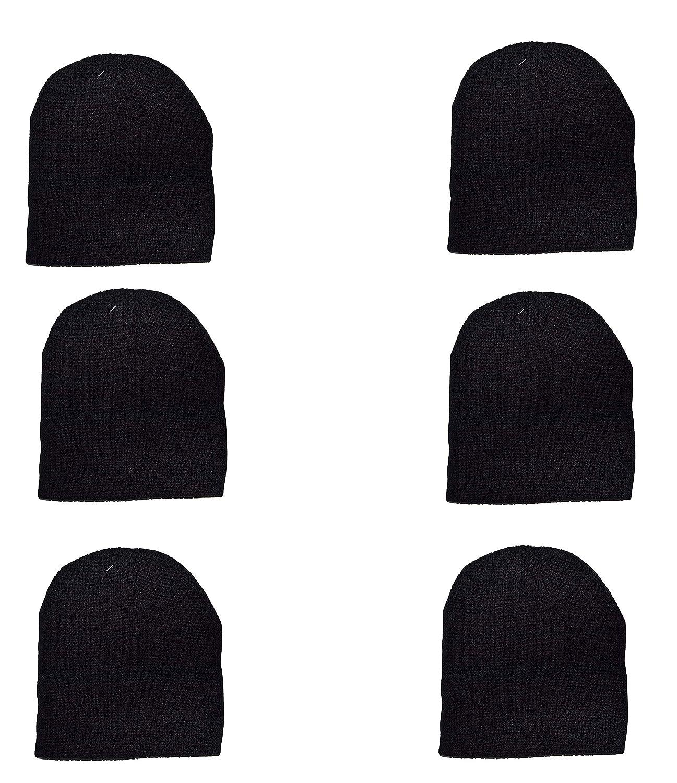 Wholesale 6 PCS Unisex Knit Short Plain Beanie Ski Cap Skull Hat Warm Solid  Winter New Blank (Black) at Amazon Men s Clothing store  535b411496c