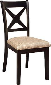 Furniture of America Harvest Upholstered Side Chair, Black, Set of 2