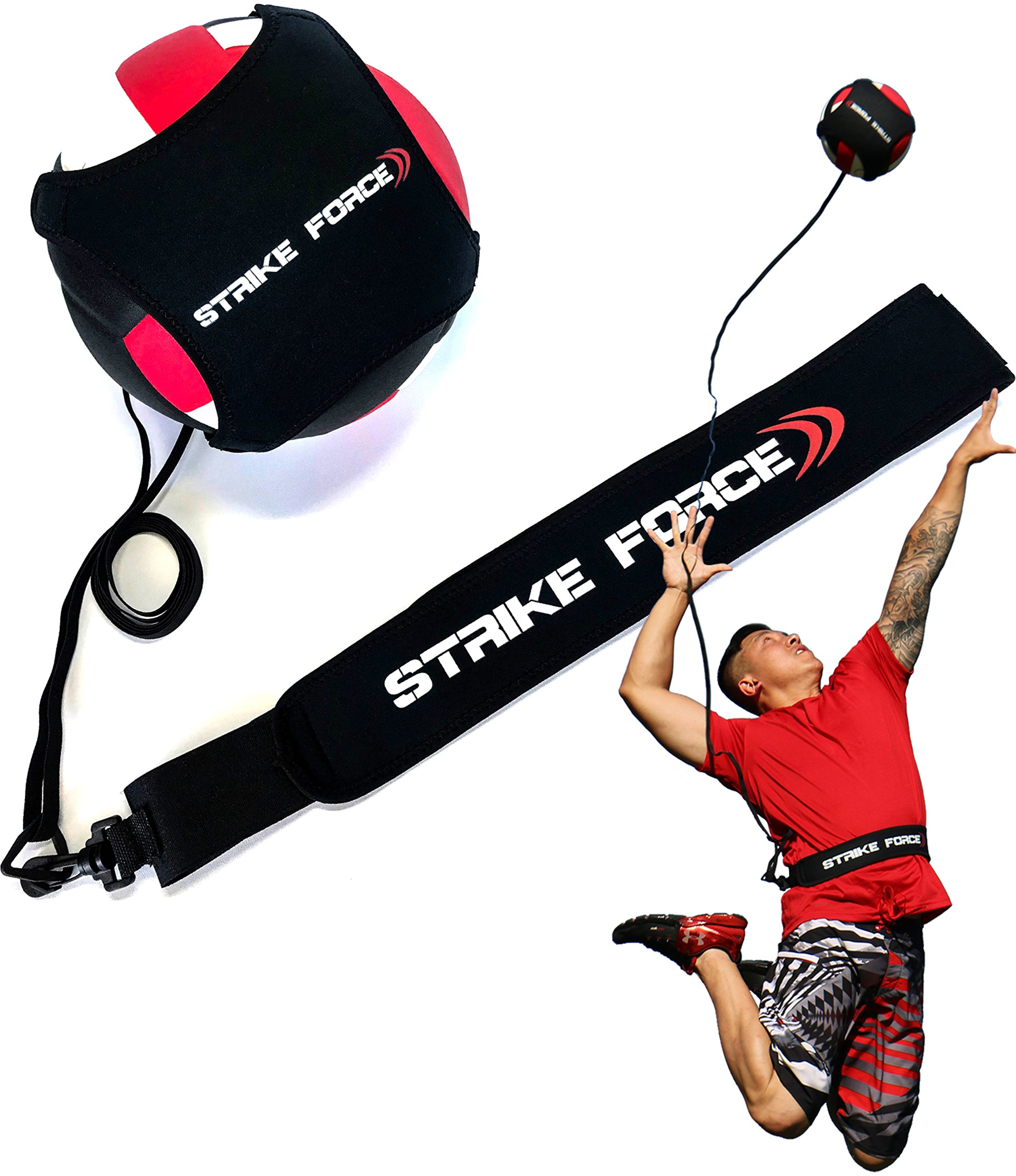 Volleyball Training Aid - Practice Equipment Aids Serving, Spiking, Setting, Arm Strength - Solo Vollyball Pal - by Strike Force by STRIKE FORCE