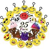 "Homder 25 Pack 2"" Emoji Mini Plush Pillows, Keychain Emoji Decorations, Emoticon pillow, Kids Party Supplies Favors"