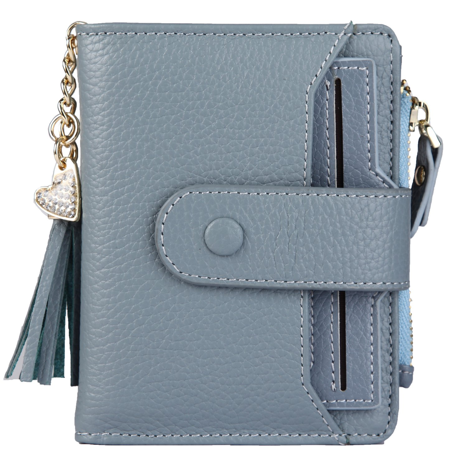 Women's Mini Soft Leather Wallet with ID Window Card Sleeve Bifold Wallet Coin Purse (blue)
