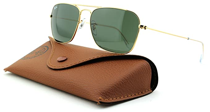 e43ed348c6 Amazon.com  Ray-Ban RB3136 Caravan Unisex Metal Rectangle Sunglasses (Arista  Frame Crystal Green Lens 001