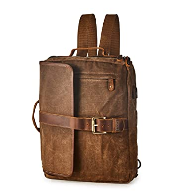 1d9189154d BRASS TACKS Leathercraft Men s Waxed Canvas Genuine Leather Utility Duffel  Weekend Work Briefcase 15 quot Laptop