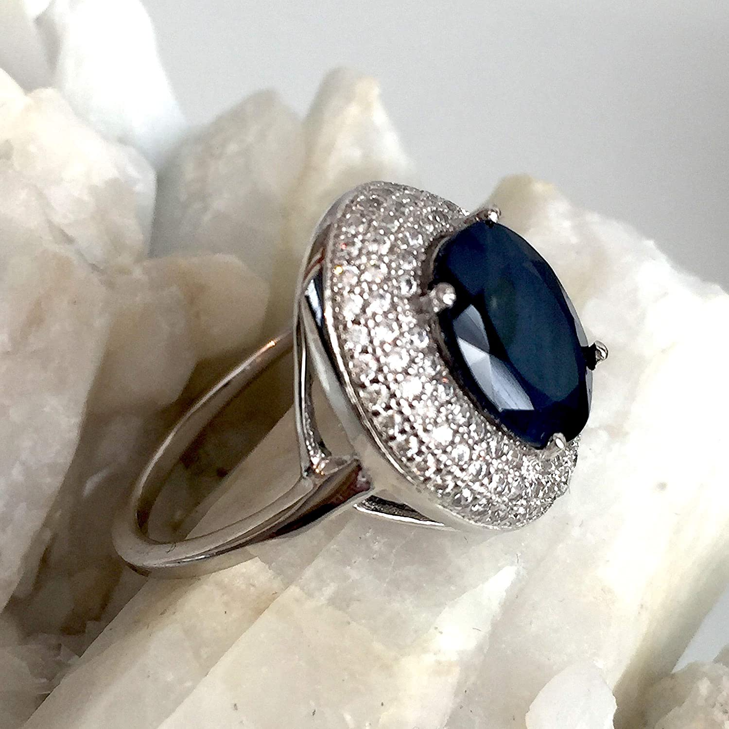 Ring Size 9 US 8x10 MM Natural Top Grade Faceted Excellent Top Blue Aquamarine Oval Shape Genuine 925 Sterling Silver Fine Quality Rings