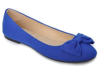 Royal Blue Wedding Flat Pumps Bridal Bow Ballerina (5)  Amazon.co.uk ... e66bcabd2b