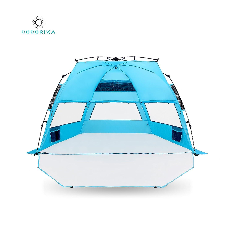 Cocorika X-Large Einfaches Setup Strand Zelt – Automatische Pop up 4 Person Instant Sun Shelter, Tragbar Sonnenschutz