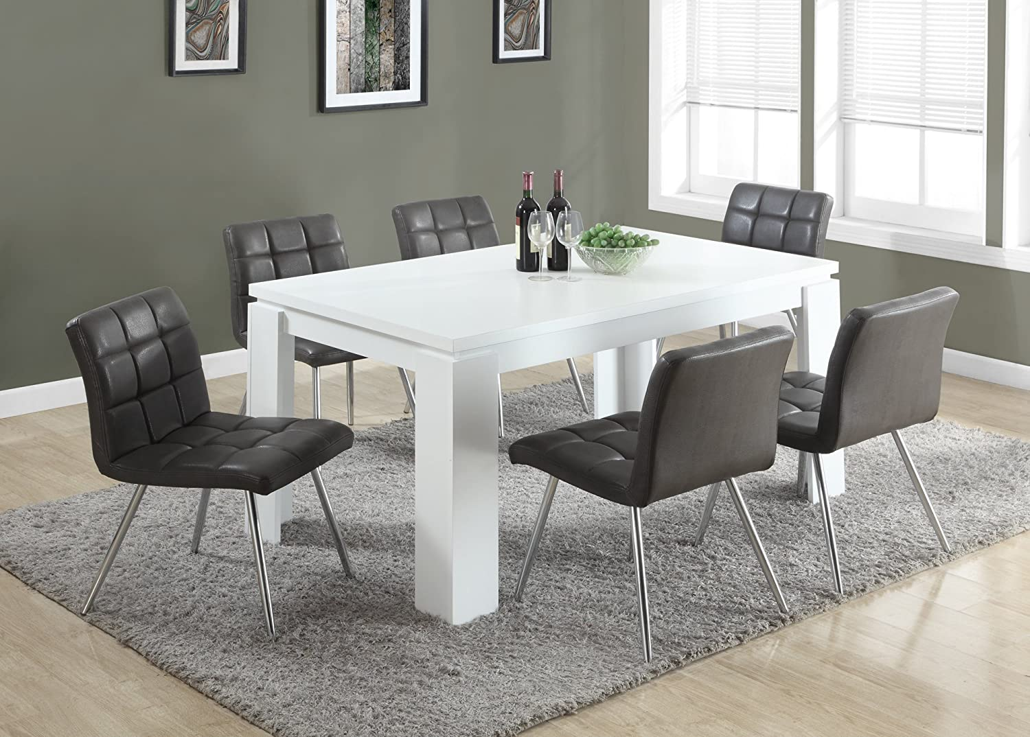 Amazon.com   Monarch Specialties I 1056, Dining Table, White Hollow Core,  60