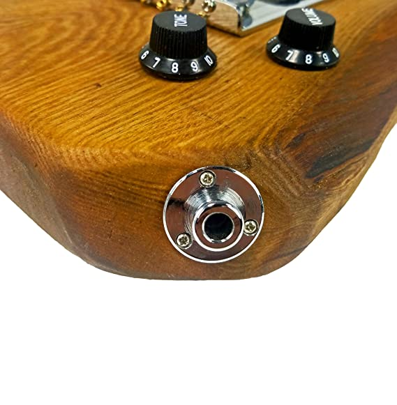 amazon com: chrome screw-mount end-pin strap button jack for guitars &  more: musical instruments