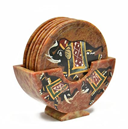 Royal Set Of 6 Hand Carved Marble Bar Coaster With Hand Painted Elephant Design Gift Ideas