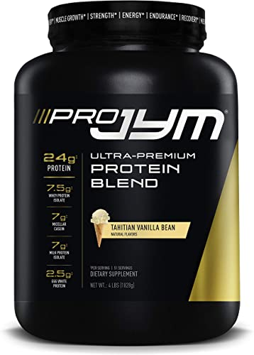Pro Jym Protein Powder – Egg White, Milk, Whey protein isolates Micellar Casein JYM Supplement Science Tahitian Vanilla Bean Flavor, 4 Lb