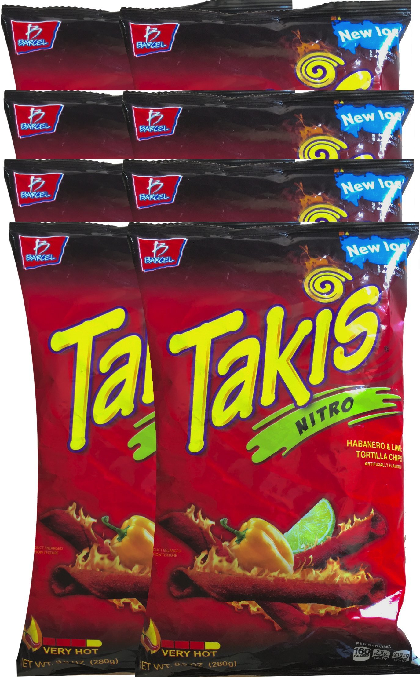 Barcel Takis Nitro Habanero & Lime Tortilla Chips Snack Care Package for College, Military, Sports 9.9 oz bag (8)