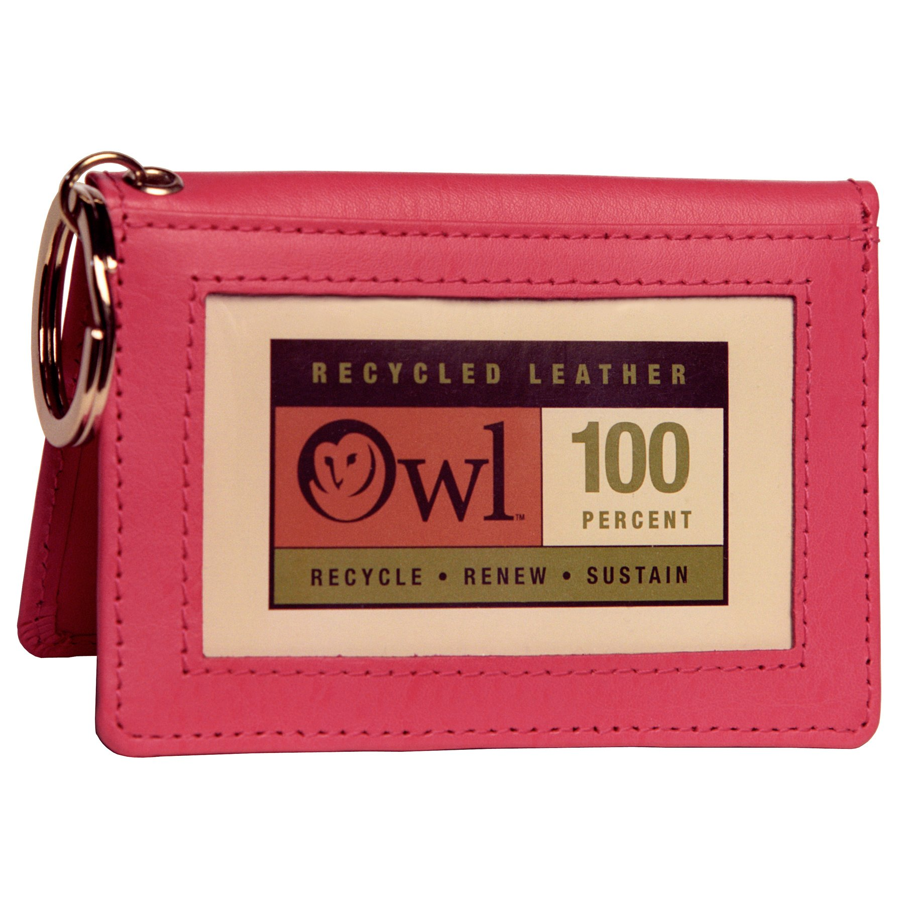 OWL Two-Fold PINK Small Leather Bifold ID Card Holder Wallet with Keychain for Men and Women