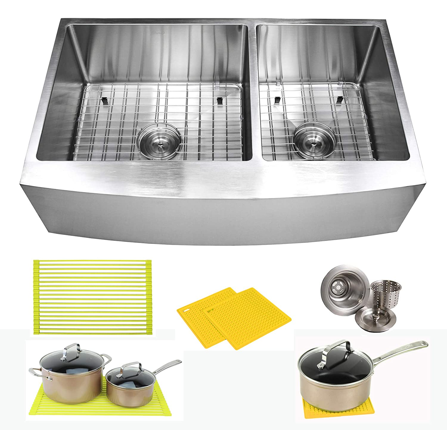 36 Inch Farmhouse Apron Front Stainless Steel Kitchen Sink Package 16 Gauge Curved Front Double Bowl Basin Complete Sink Pack Bonus Kitchen Accessories