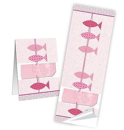 10 larga Pegatinas de color rosa rojo rosa 3 Peces Maritim ...