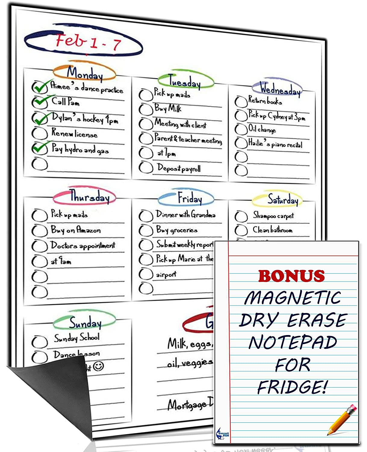 Multi-Purpose Daily & Weekly Magnetic Dry Erase Whiteboard for fridge – by Smart Fish with **BONUS** Dry Erase Magnetic Notepad. For your to do list, chore chart, reminders and menu planner board (12 x 16 inches)