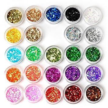 Dtol 24box Nail Art Decoration Glitter Paillette Dust Powder Amazon