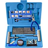 67 Piece Heavy Duty Flat Tire Repair Kit with Auto Changing & Insertion Tools|Onroad/Offroad Tubeless Puncture Set|Vulcanizing Plugs Fix Tire without Glue|Truck,Car,Motorcycle,ATV,UTV,Jeep,Lawnmower