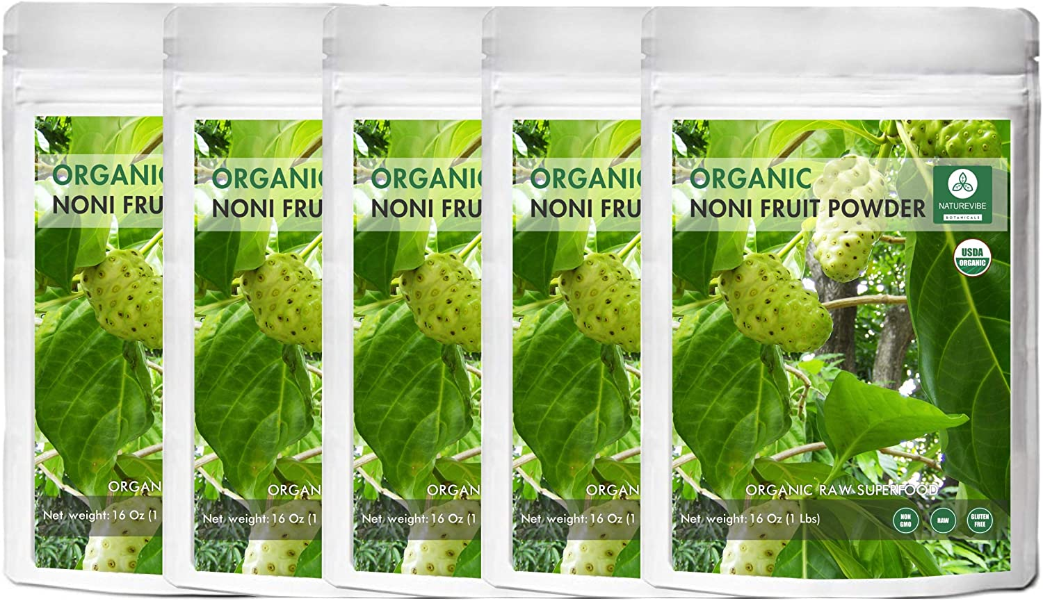 Naturevibe Botanicals USDA Organic Noni Fruit Powder, 5lbs 5 Packs of 16oz Each – Morinda Citrifolia – 100 Pure Natural – Gluten Free Non-GMO