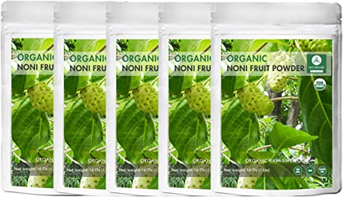 Naturevibe Botanicals USDA Organic Noni Fruit Powder, 5lbs 5 Packs of 16oz Each – Morinda Citrifolia – 100 Pure Natural – Gluten Free Non-GMO Supports Immunity System