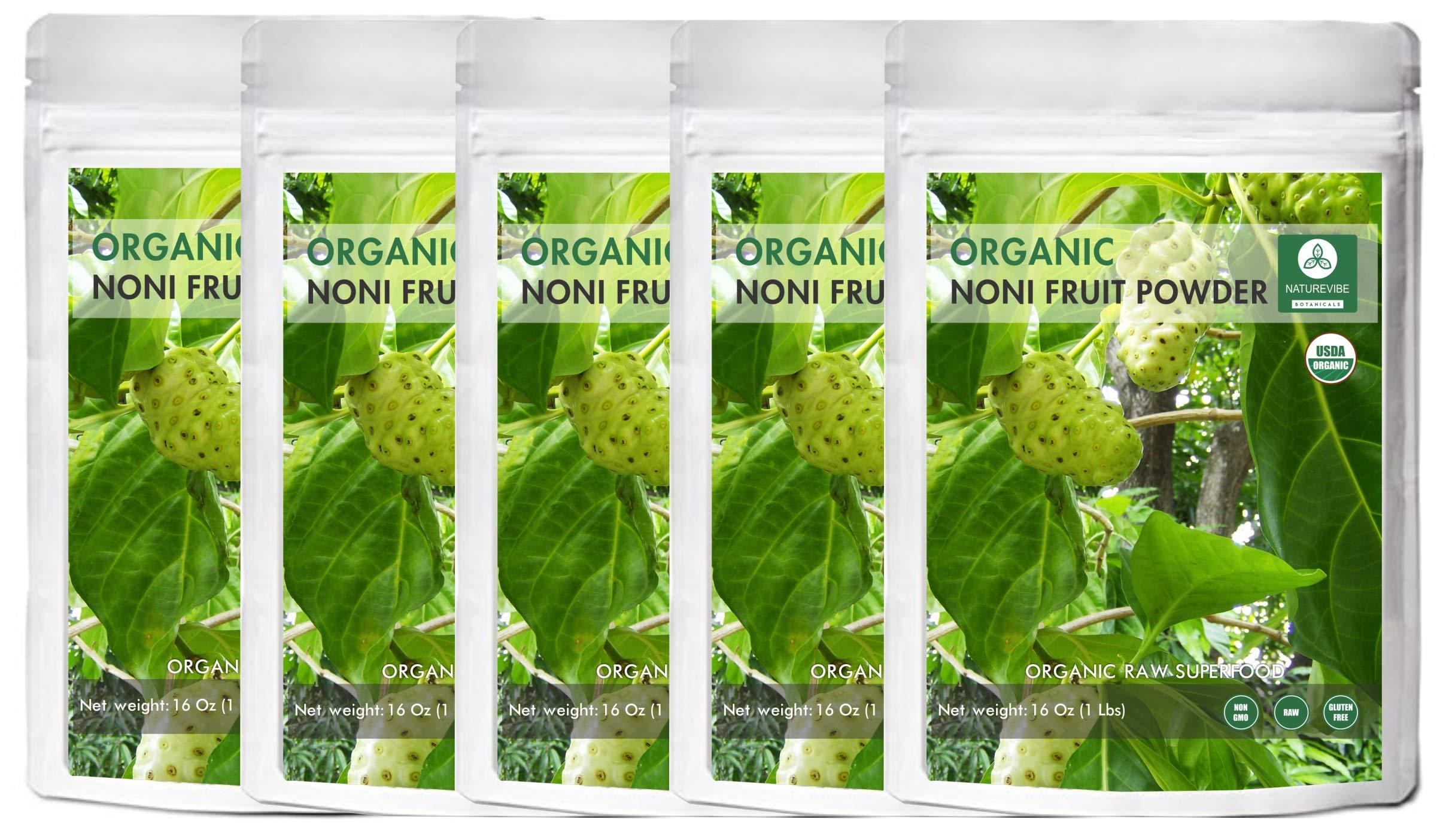 Naturevibe Botanicals USDA Organic Noni Fruit Powder, 5lbs (5 Packs of 16oz Each) - Morinda Citrifolia - 100% Pure & Natural - Gluten Free & Non-GMO by Naturevibe Botanicals