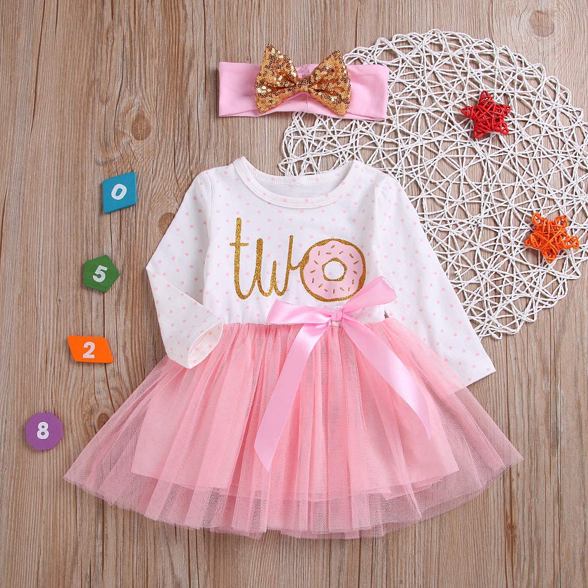 Karuedoo 2Pcs Baby Girls Tutu Dress 1st Birthday Outfit Donut Letter Print Top Tulle Tutu Skirt with Headband Outfit Set