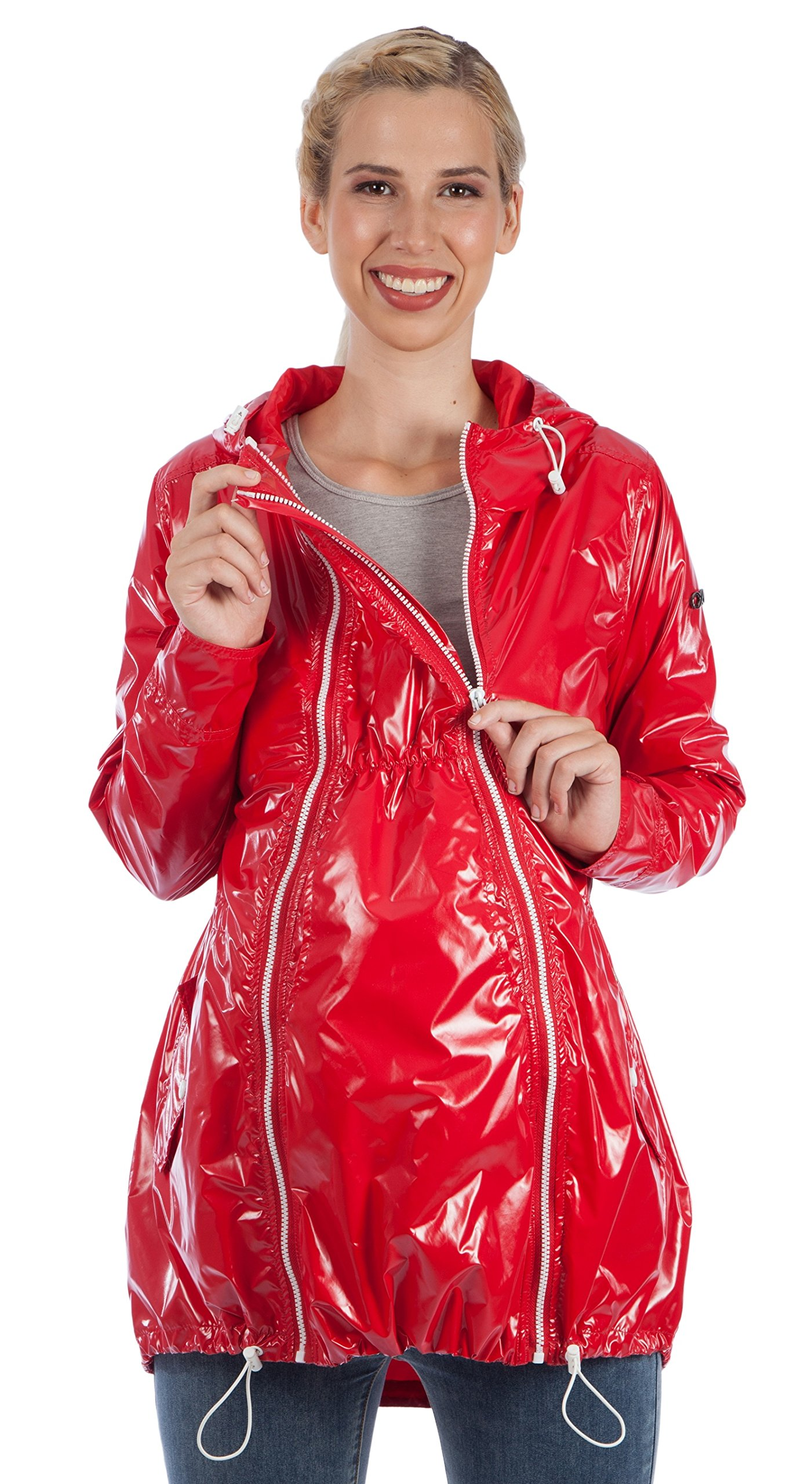 """Waterproof Raincoat """"Baby in-Baby Out-Baby Free"""" 3-in-1 Maternity Convertible X-Small Bright Navy"""