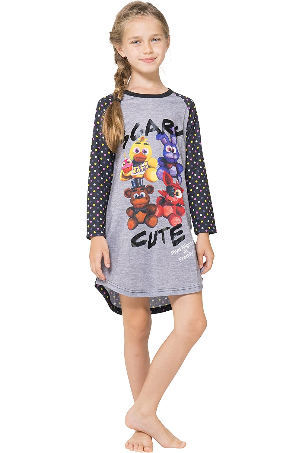 Intimo girls Five Nights at Freddy's Raglan Nightgown Gray 6/6X FNFG0079RGL