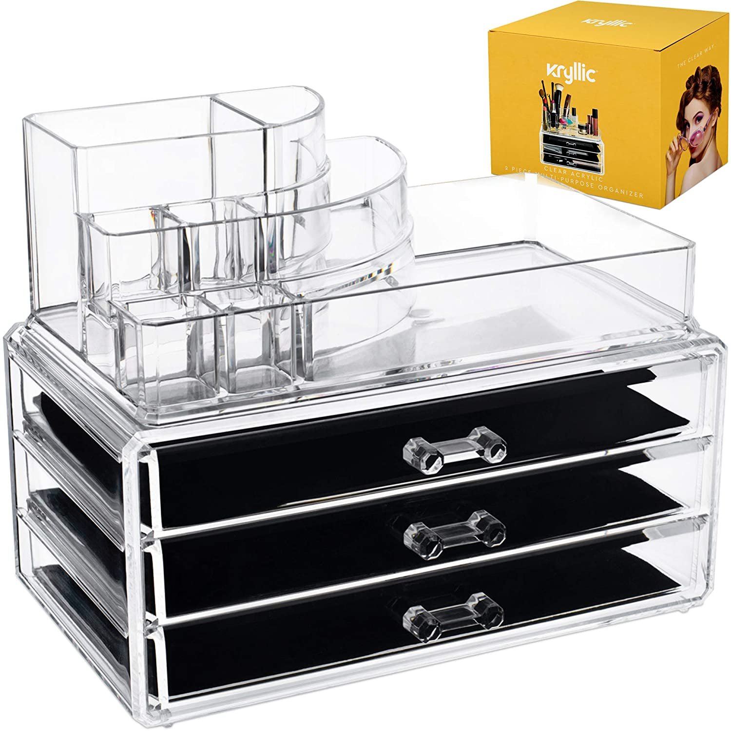 Acrylic Makeup Cosmetic Storage Organizer - 3 case drawer with 8 slot organizers for brush palette lipstick pens make up nailpolish lotion and creams! Countertop box tray drawers for vanity or bedroom COMIN18JU002356