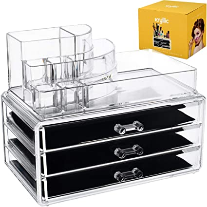 Acrylic Makeup Cosmetic Storage Organizer , 3 case drawer with 8 slot  organizers for brush palette lipstick pens make up nailpolish lotion and  creams!