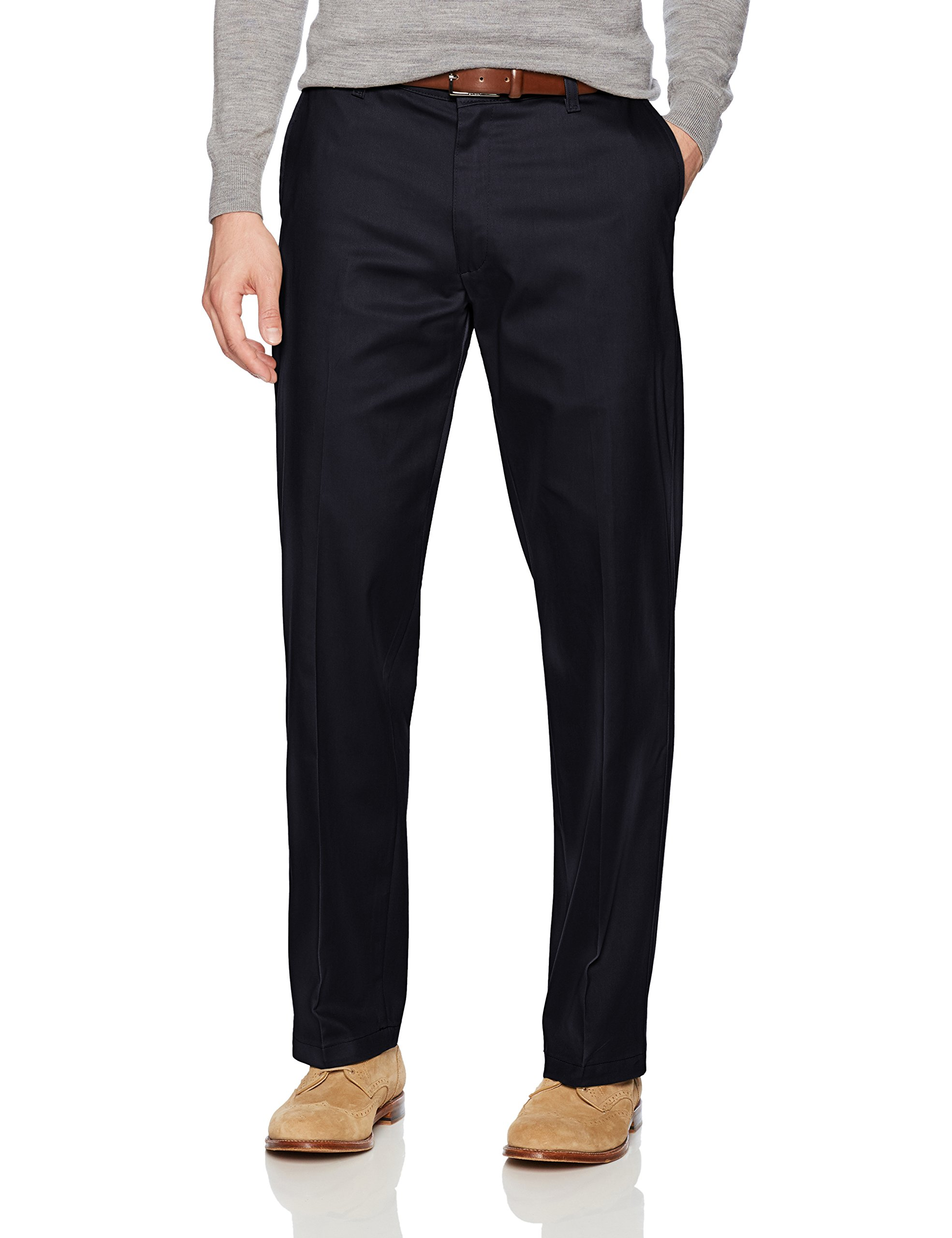 LEE Men's Total Freedom Stretch Relaxed Fit Flat Front Pant, Navy, 34W x 30L